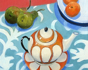 The Orange Teapot II. Giclee print from original still life oil painting by Angela Brookens.