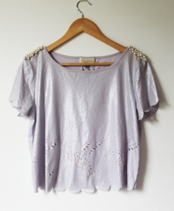 SALE: ReMade - Upcycled Lilac T-Shirt with Scalloped Hems, lace cut bird pattern and pearl embellished shoulders