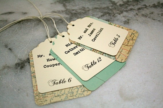 Wedding escort card, seating card.  Unique layered escort cards made from vintage atlas pages.  Custom printed.