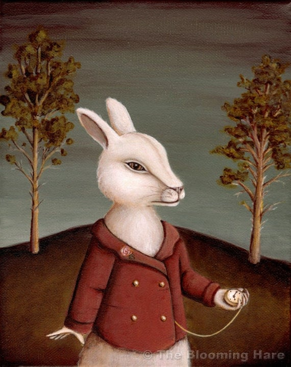 Alice in Wonderland Art - The White Rabbit Print 8x10