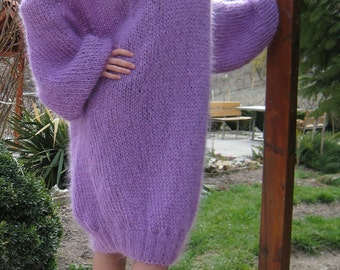 Light and fuzzy hand knitted mohair sweater dress, slouchy soft fluffy robe in purple by SuperTanya