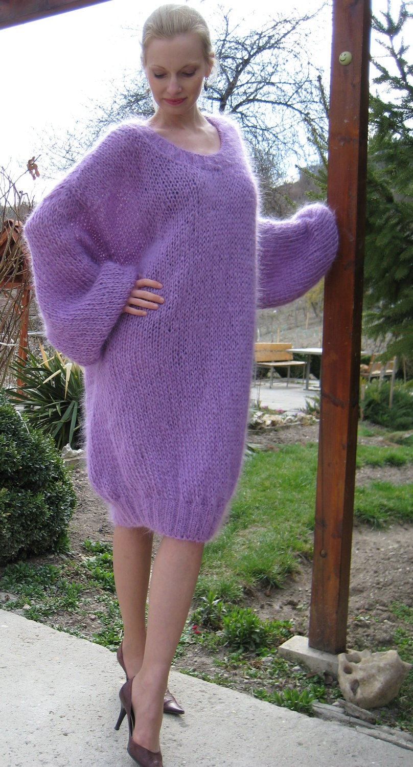 Mohair Dress Knitting Pattern : Light and fuzzy hand knitted mohair sweater dress slouchy
