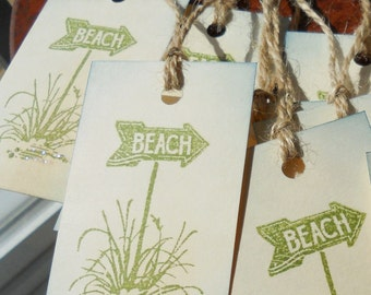 Wish tree tags - beach theme wedding, gift favors, hand stamped, set of 10.