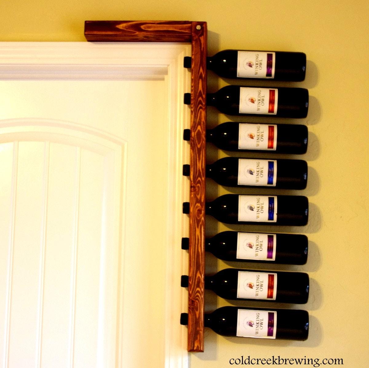Rustic wine rack wine rack wine bottle holder bridesmaid for Easy wine rack