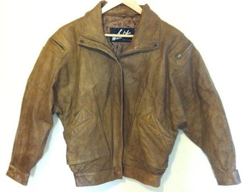 Mens 80s Leather Bomber Jacket - Small -  Brown Distressed Leather Coat - Flight Jacket