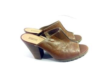 20 SALE -- Vegan Leather High Heel Clogs 8 - Brown Platform Mules 8 - Slip On Clogs 8