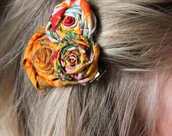 Rustic Bridesmaid Hair Clips  // Vintage Wedding Hair Clips or Headbands // Floral Funky Custom Order