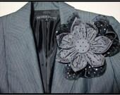 Sale - Polka Dot (Gray & Black) Brooch Pin Collage