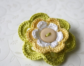 Flower Crochet Brooch - Green