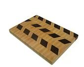 """Cutting Board Wood - End Grain Maple and Black Walnut  - 14"""" x 10"""" x 1"""""""