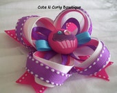 Cupcake Hair bow Girls Pink Purple White Birthday Bows Baby