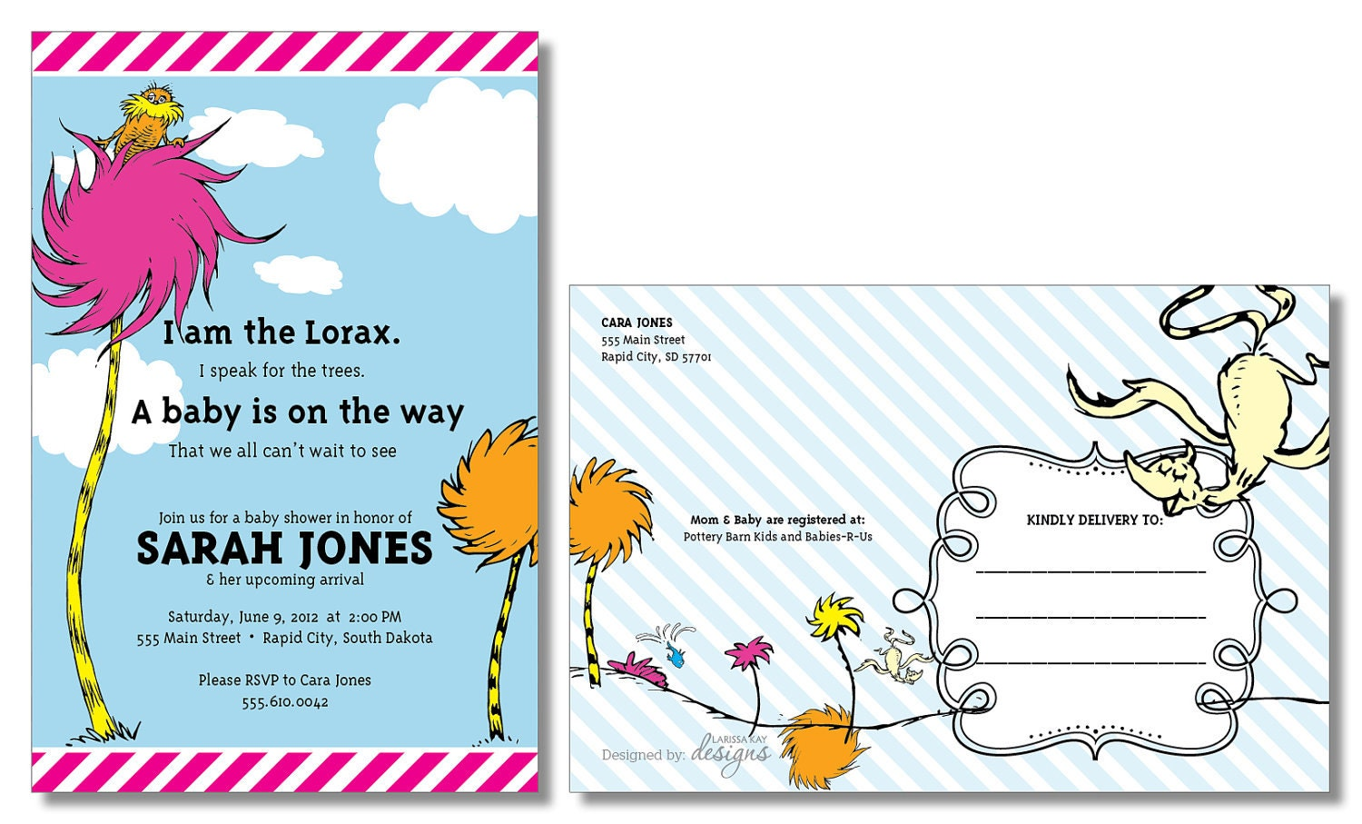 Lorax Baby Shower Invitations is awesome invitation example