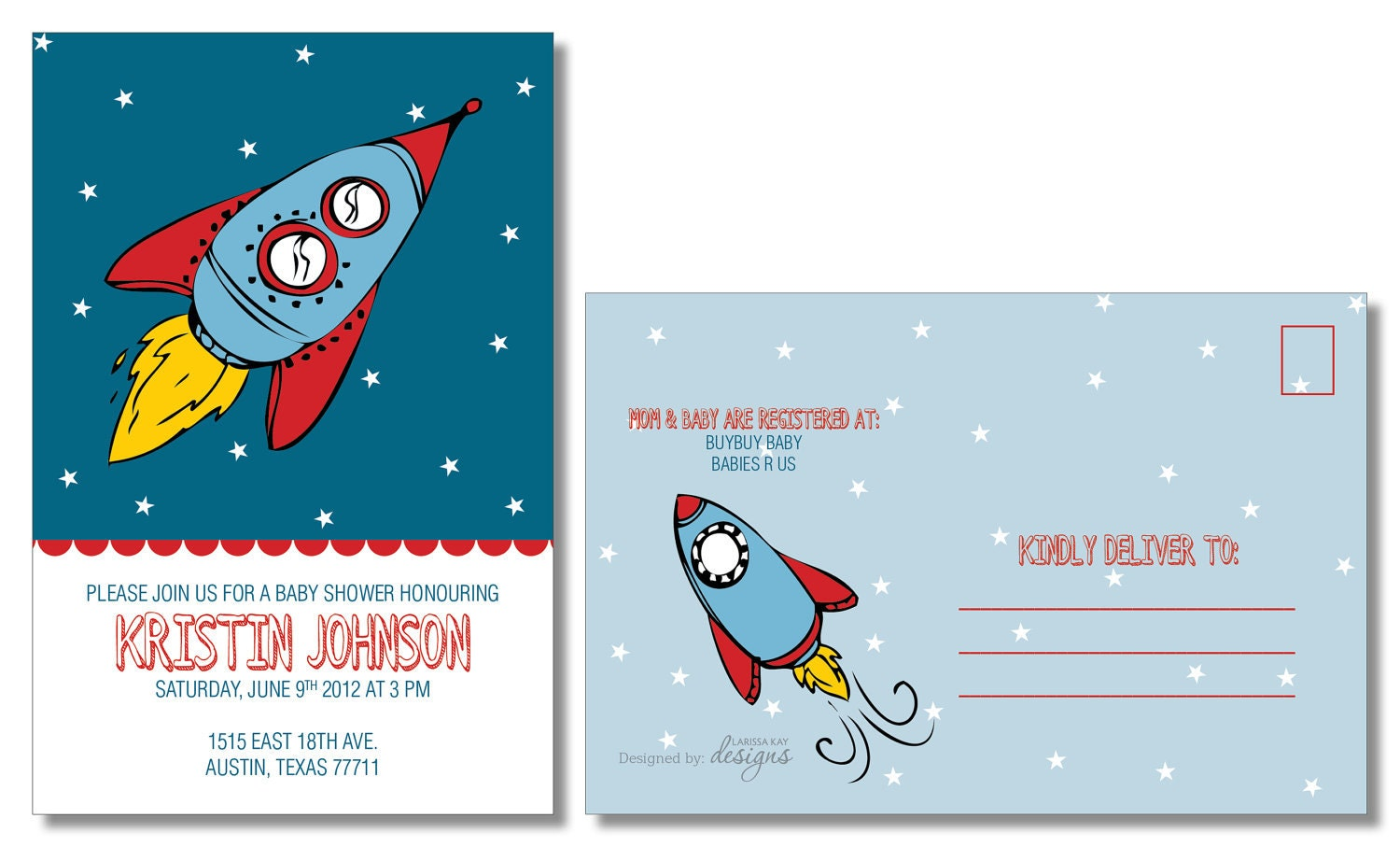 Space rocket baby shower invitation boy baby by for Space themed stationery