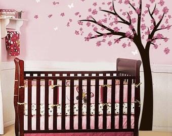 Vinyl Wall Decal Blowing Cherry Tree Sticker nursery vinyl wall decal