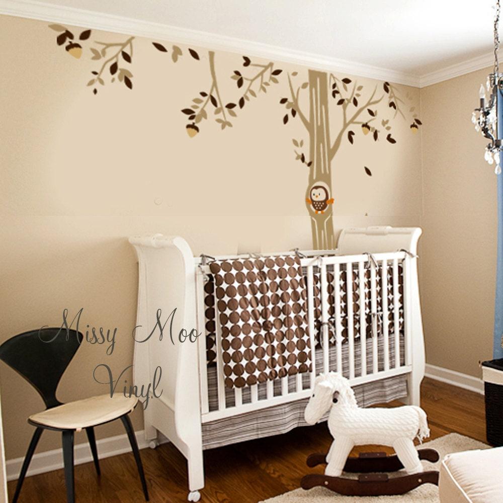 vinyl wall decal forest owl friend tree baby nursery decor. Black Bedroom Furniture Sets. Home Design Ideas