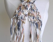 Clarissa Scarf - Chunky Wool - Long Skinny Scarf - Watercolors