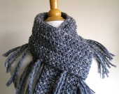 Zooey Scarf - Wool with Ribbon Detailing - Lots of Fringe -- Gunmetal Grey- Classic