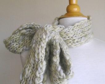 Clarissa Scarf - Chunky Wool - Long Skinny Scarf - Mossy Stone
