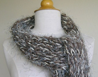 Long, chunky, fuzzy scarf -- OOAK -- multicolored taupe, chocolate, ivory, grey