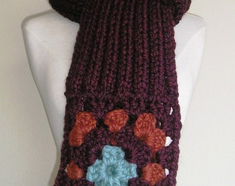 Long, chunky, scarf - Not Your Granny's Scarf -- Wool blend - Warm and Toasty -- Maroon
