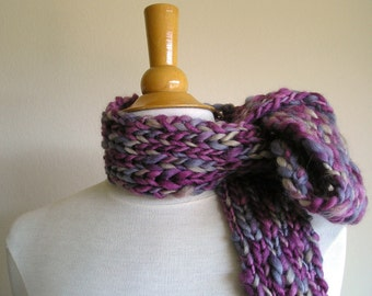 Clarissa Scarf - Chunky Wool - Long Skinny Scarf - Frosted Berries -- Purples