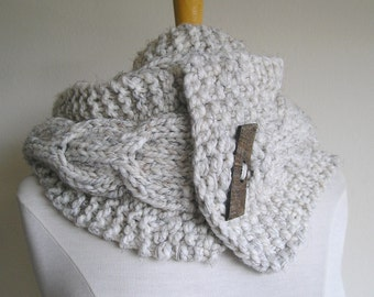 """Cabled Scarf -- """"Lucky Horseshoes"""" -- Wool Blend -- Long Version, with extra large wooden button"""