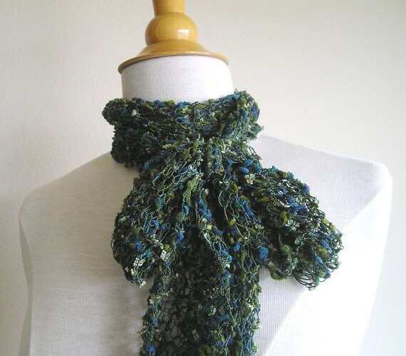 """Lacy, Skinny, Long Scarf - """"Kelp Forest"""" - Multicolored blue, green, olive, and teal"""