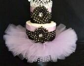 Black and Lavender  Princess Tutu Baby Diaper Cake Newborn Baby Girl Gift