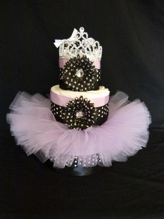 black and lavender princess tutu baby diaper cake by mamabijou