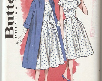 Vintage 1960 Butterick Pattern 9309 Misses Dress and Coat Size 12 Bust 32