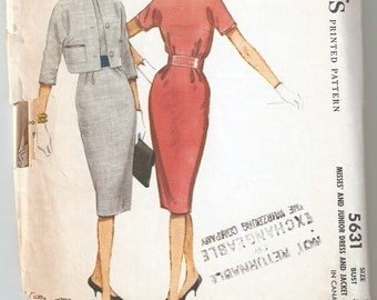 Vintage 1960 McCall's Pattern 5631 Misses Dress and Jacket Size 12 Bust 32