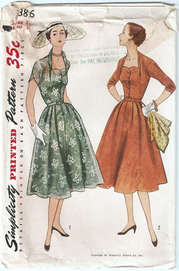 Vintage 1952 Simplicity Pattern 3896 Ladies Dress Size 14 Bust 32