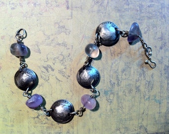 Money Bracelet, Dimes & fluorite pebbles, Sterling rosary chain