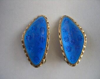 Norwegian sterling silver 925S vintage cobalt blue guilloche enamel clip earrings 1950s 1960s