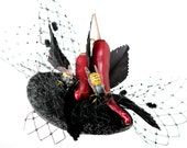 RESERVED! Red and Black Feathered Fascinator - 'Chilli con Hornet'