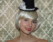 Black and Antique White Edwardian inspired Mini Top Hat - 'Alexandra'