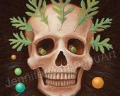Skull with Oak Leaves Original Art Painting by Jennifer Barrineau titled Sir Chuffrey