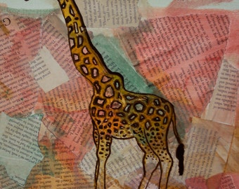 Pastel Giraffe Newsprint Collage - 11 x 14 Shabby Boho Wall Art - Whimsical Nursery - Newspaper Animal Art - Quirky Cottage Chic Home Decor