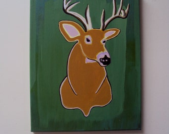 Modern Deer Head Wall Art - 11 x 14 Original Acrylic Painting - Woodland Deer Bust - Modern Faux Deer Decor - Woodland Creature Wall Art