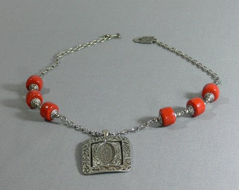 Sale - Necklace, Coral Beads, Pendent - FS-093