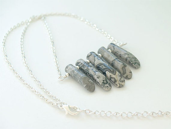 30 OFF SALE - Gray Stone Necklace in Silver - Gray Necklace - Tribal Jewelry - Stone Fan Necklace