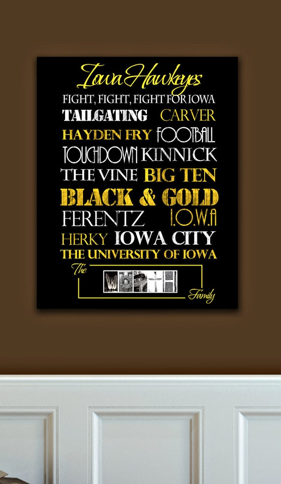 Iowa hawkeyes print or canvas for Iowa hawkeye decor