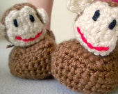 Crochet Caramel Brown Stuffed Monkey Booties Slippers with Adjustable Tie for Babies