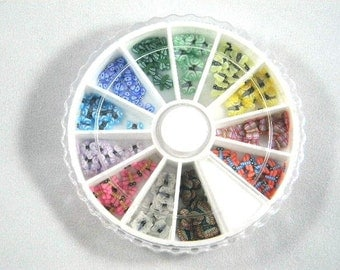 Fimo Cane Slices Dragonflies and Butterflies Nail Art Wheel
