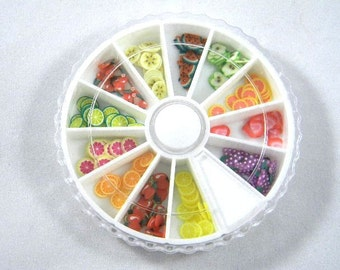 Fruit Fimo Nail Art Wheel, Fimo Cane Slices