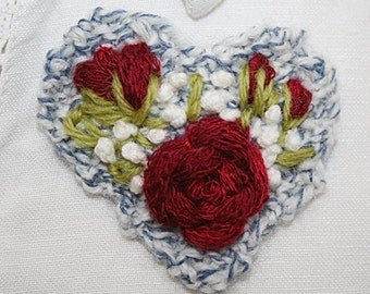 Embroidered and Knitted Brooch - Red Rose Heart