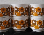 6 orange and brown cups and saucers / 1970's tea cups / Vintage English Staffordshire Ironstone.