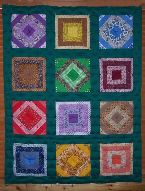 SALE Small crazy patch quilt Lap Quilt