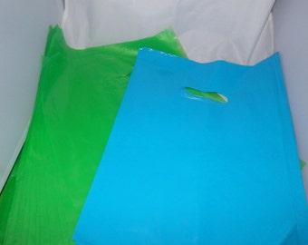 100 pack  Lime Green  and Teal Blue Glossy Retail Merchandise bags  Low Density Plastic Merchandise Gift Bags 9 x 12