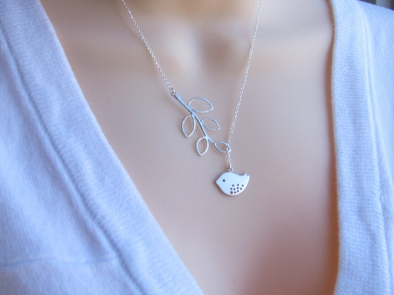 SILVER Bird Necklace, Bird Lariat Style, Leaves Necklace, Branch Leaves, Mothers Jewelry Bridesmaid necklace. Mommy and child, Mom and son.